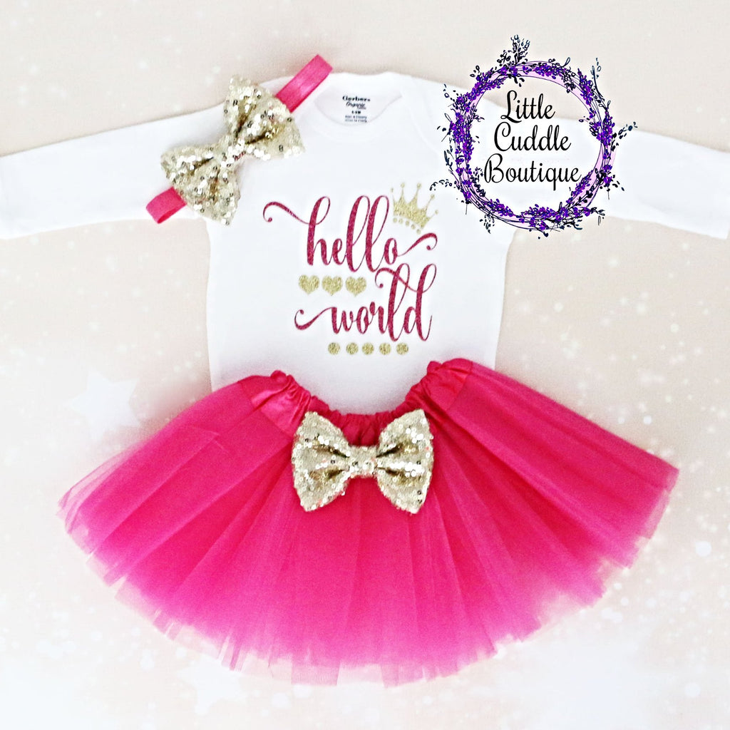 Hello World Baby Tutu Outfit