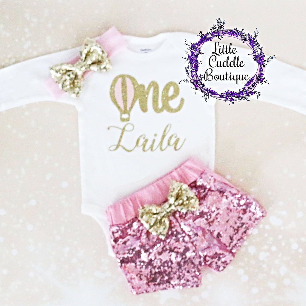 Personalized Hot Air Balloon Birthday Shorts Outfit