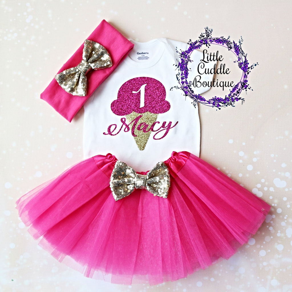 Personalized Ice Cream Birthday Tutu Outfit