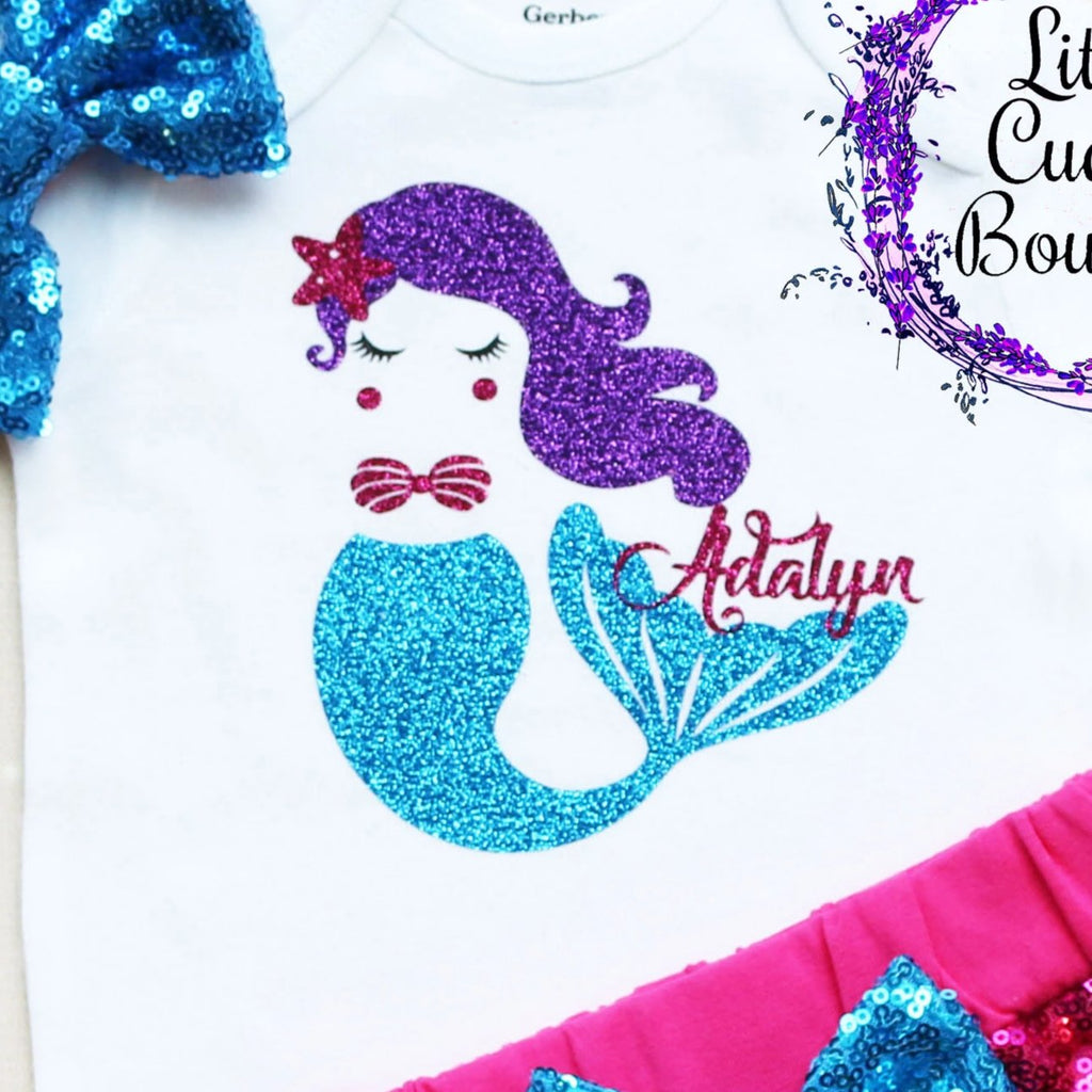Personalized Mermaid Birthday Shorts Outfit