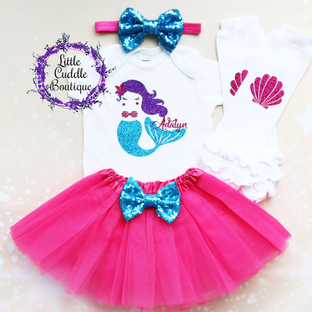 Personalized Mermaid Birthday Tutu Outfit