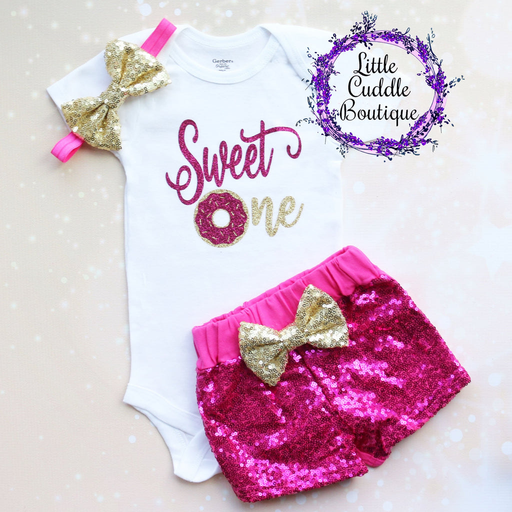 Sweet One Donut First Birthday Shorts Outfit
