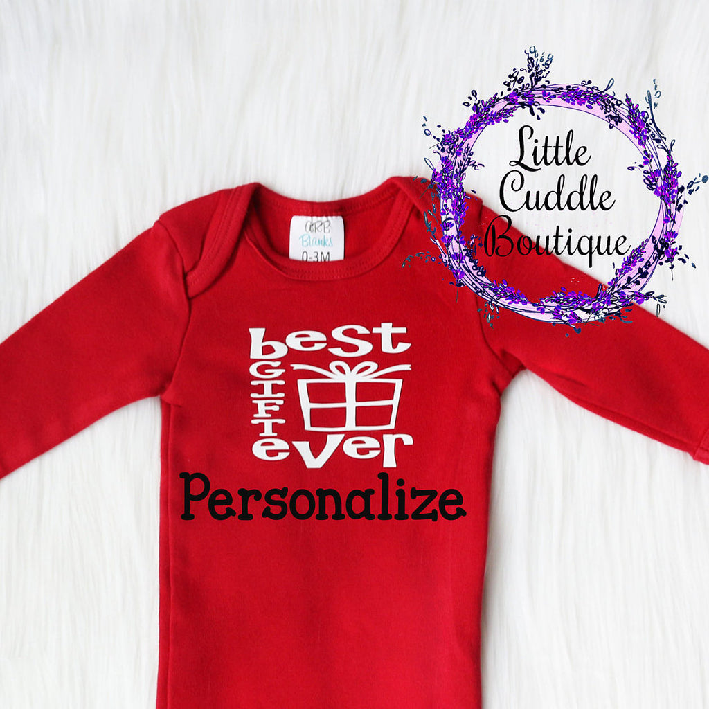 Personalized Christmas Boy Newborn Gown