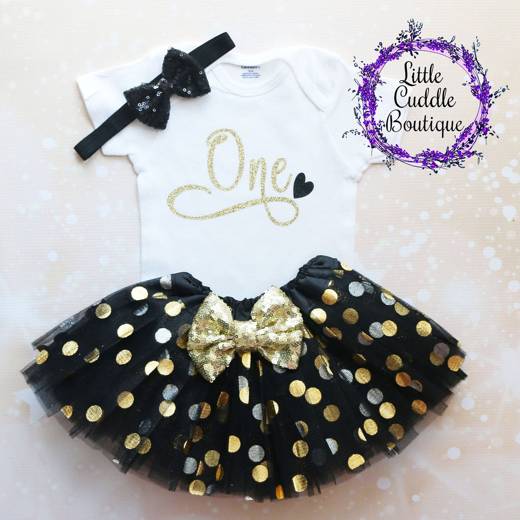 Gold/Black First Birthday Tutu Outfit