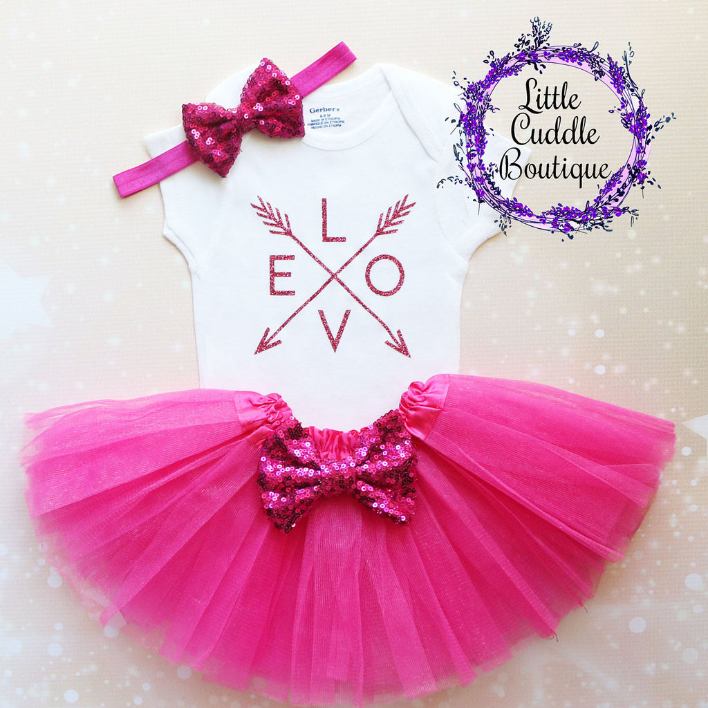 Pink Love Baby Tutu Outfit