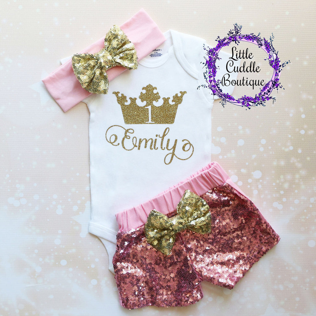 Personalized Princess Birthday Shorts Outfit