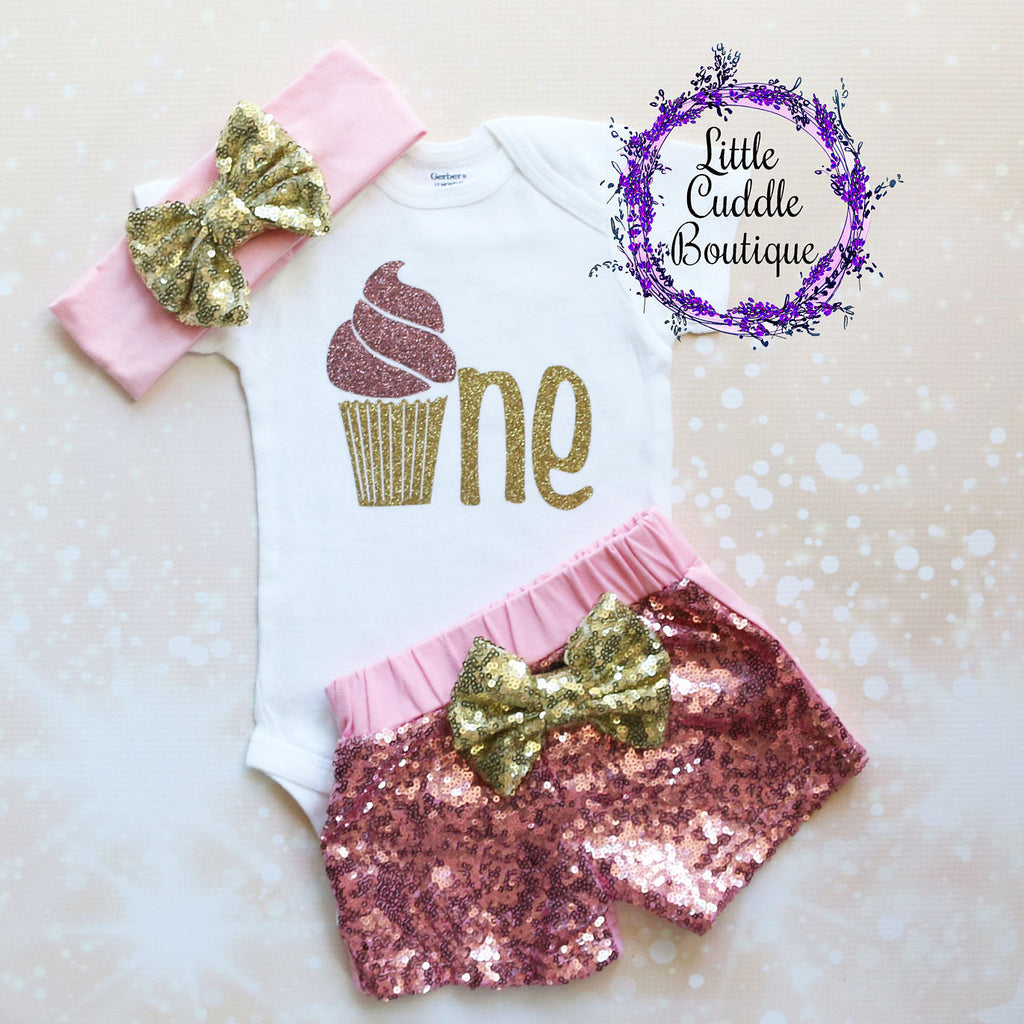 Cupcake First Birthday Shorts Outfit