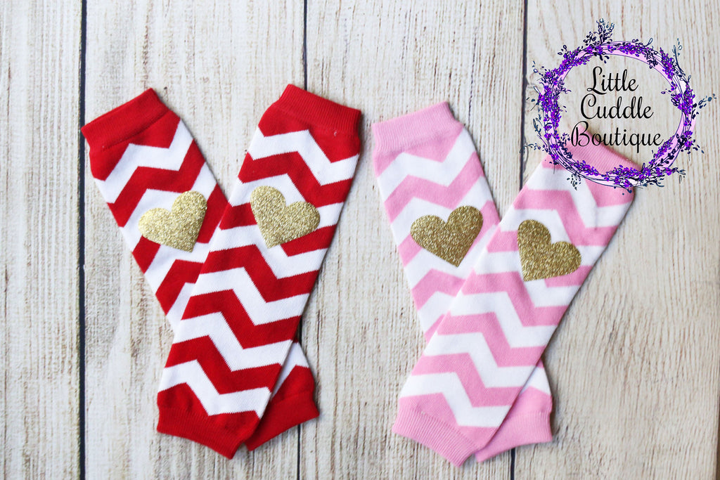 Chevron and Heart Baby Leg Warmers