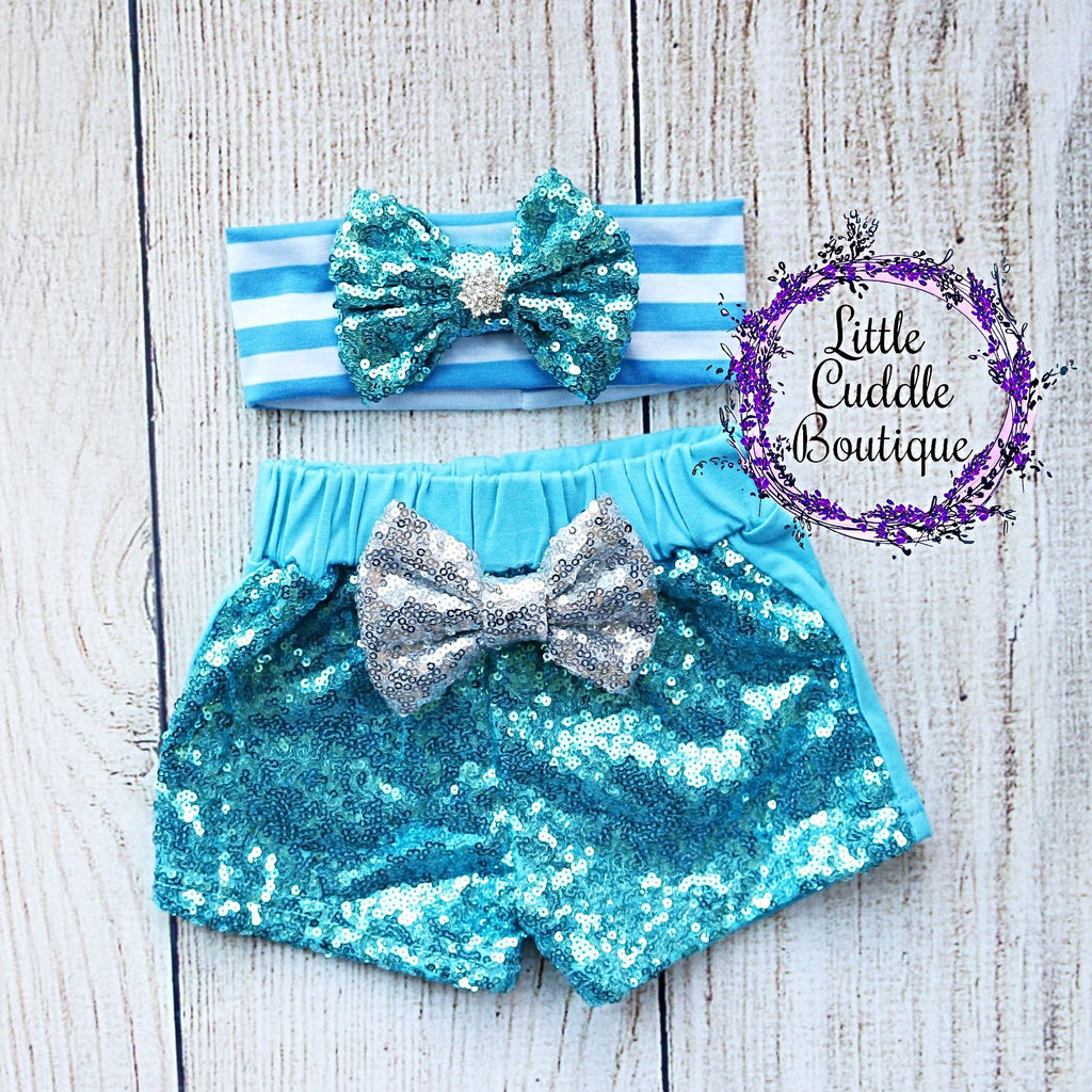 Aqua Headband/Baby Sequin Shorts