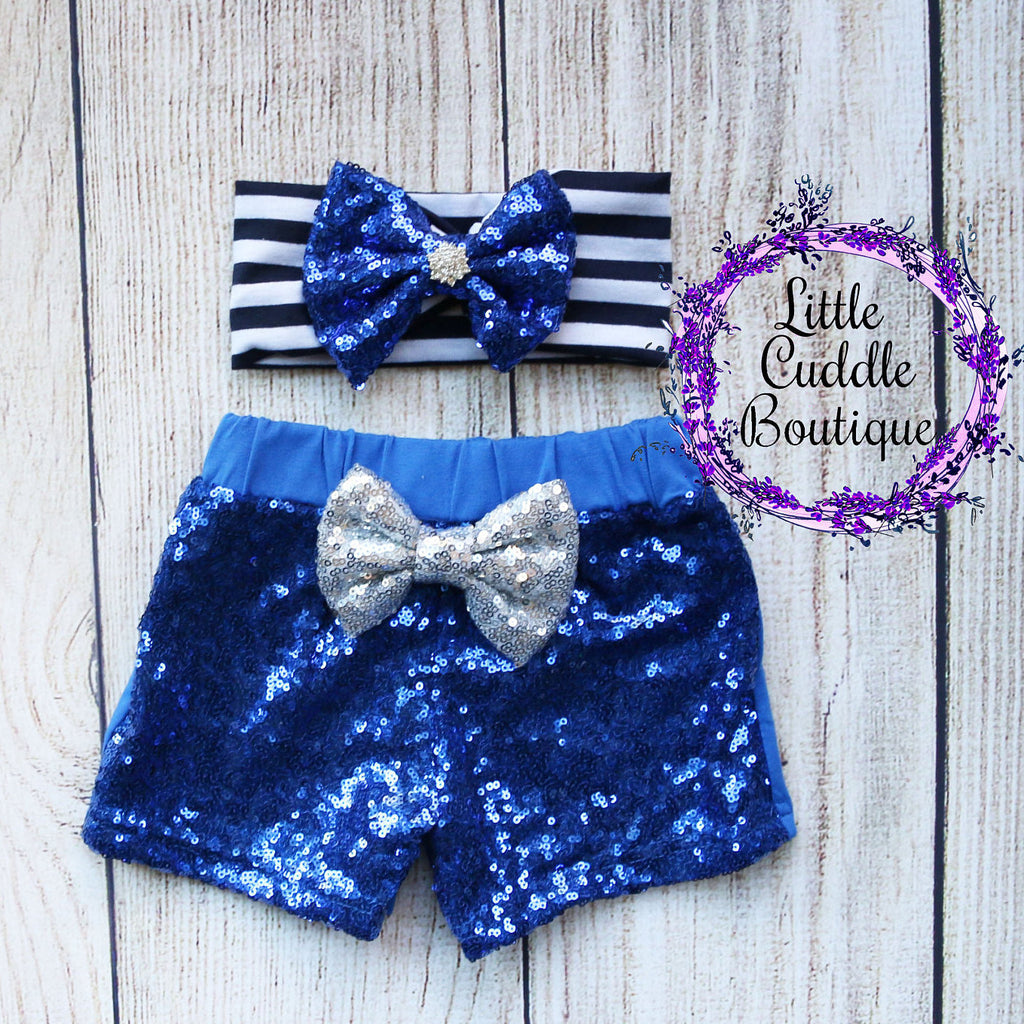 Royal Blue Headband/Baby Sequin Shorts