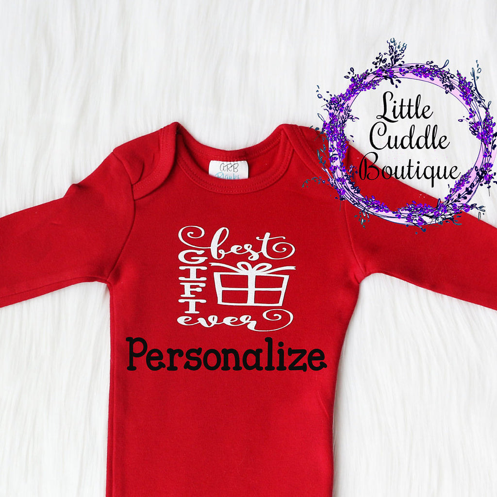 Personalized Christmas Girl Newborn Gown