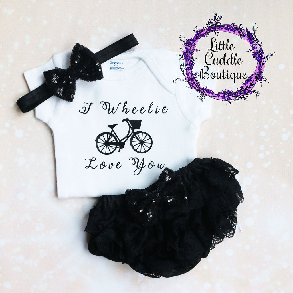 I Wheelie Love You Baby Bloomers Outfit