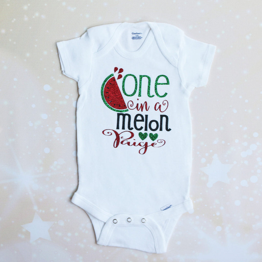 Personalized One in a Melon Baby Shorts Outfit