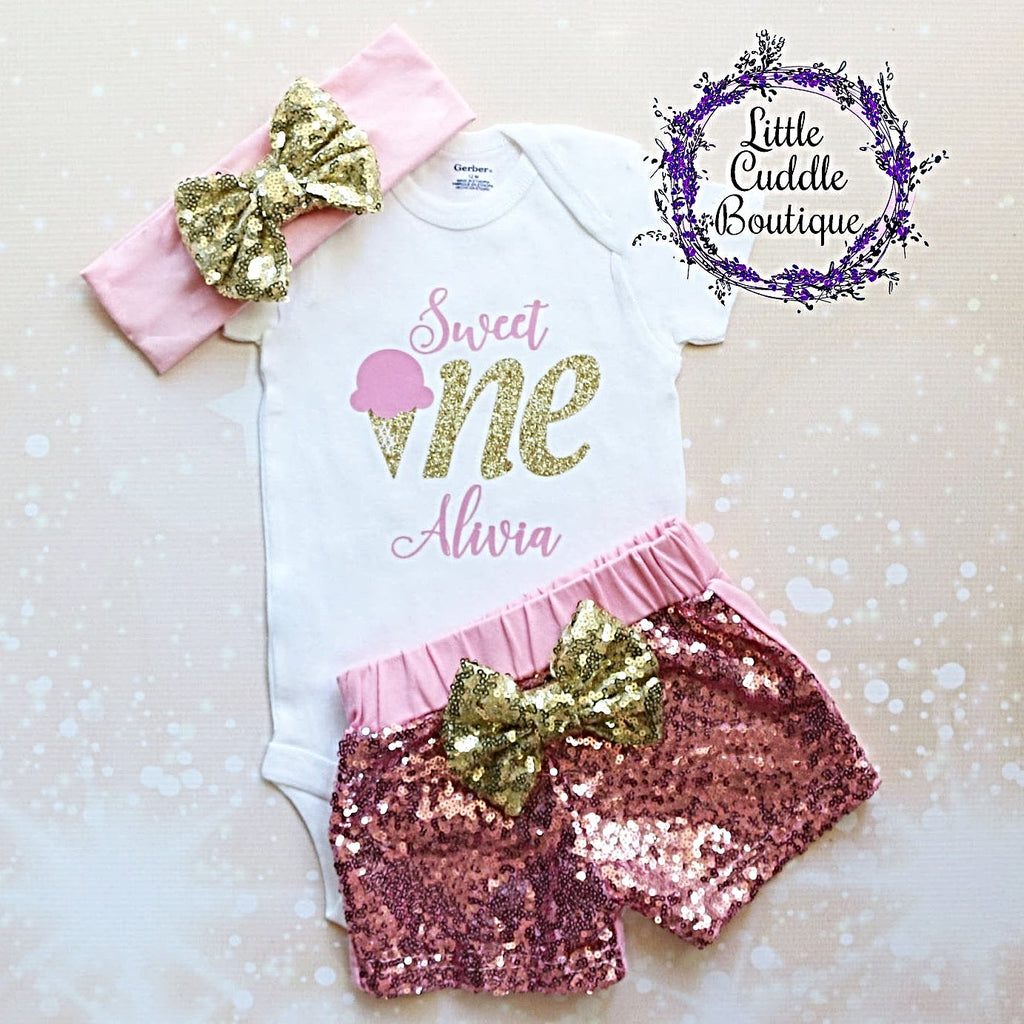 Personalized Ice Cream First Birthday Shorts Outfit
