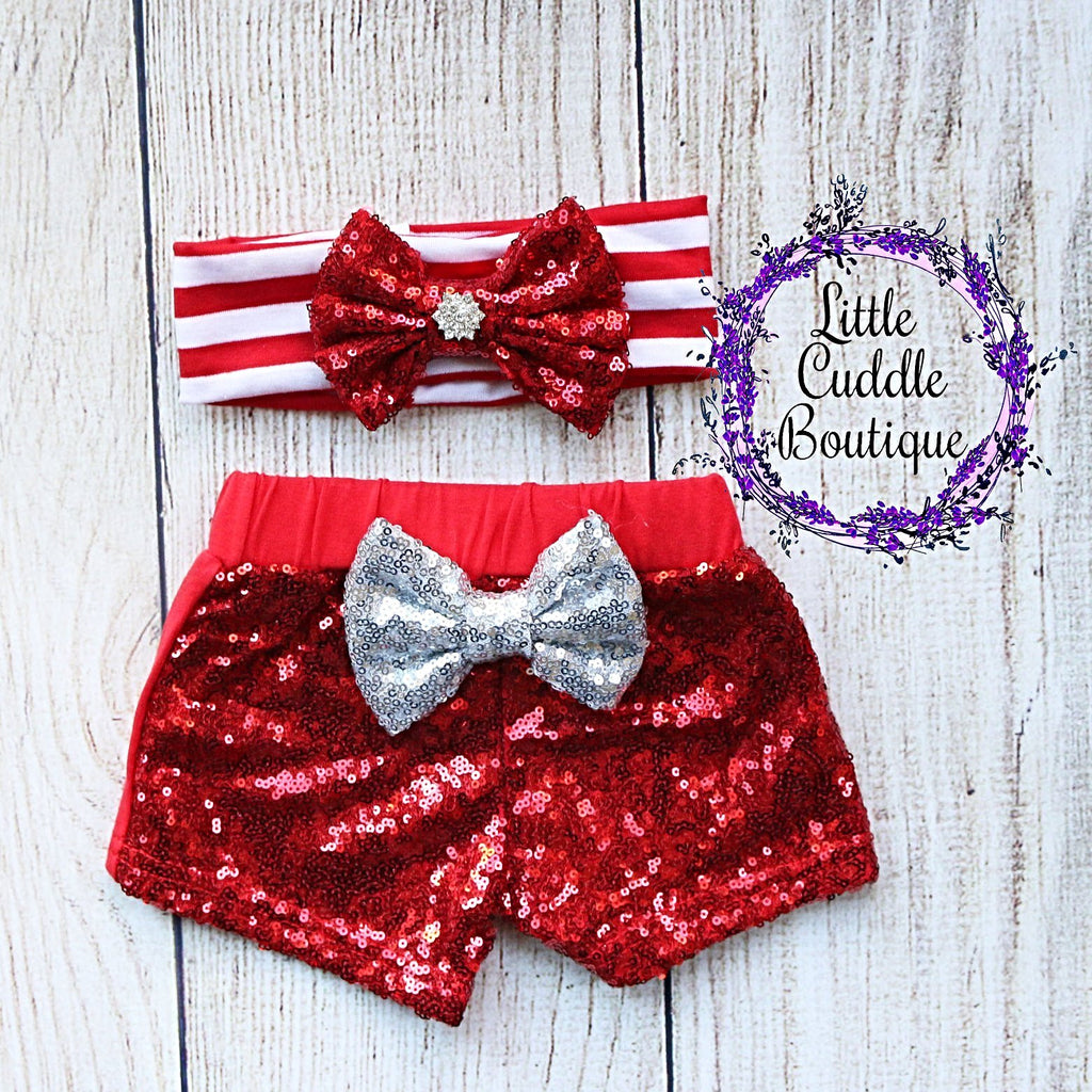 Red Headband/Baby Sequin Shorts