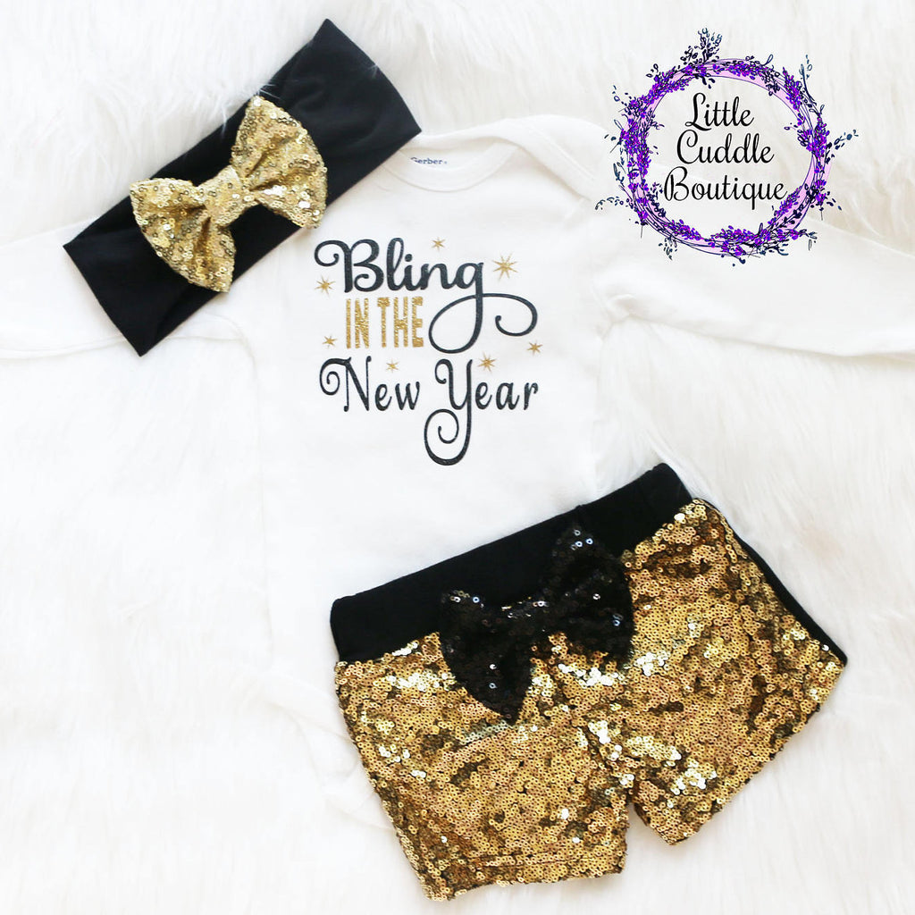 New Year's Baby Shorts Outfit