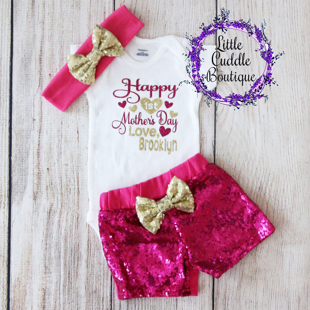 Personalized First Mother's Day Shorts Outfit