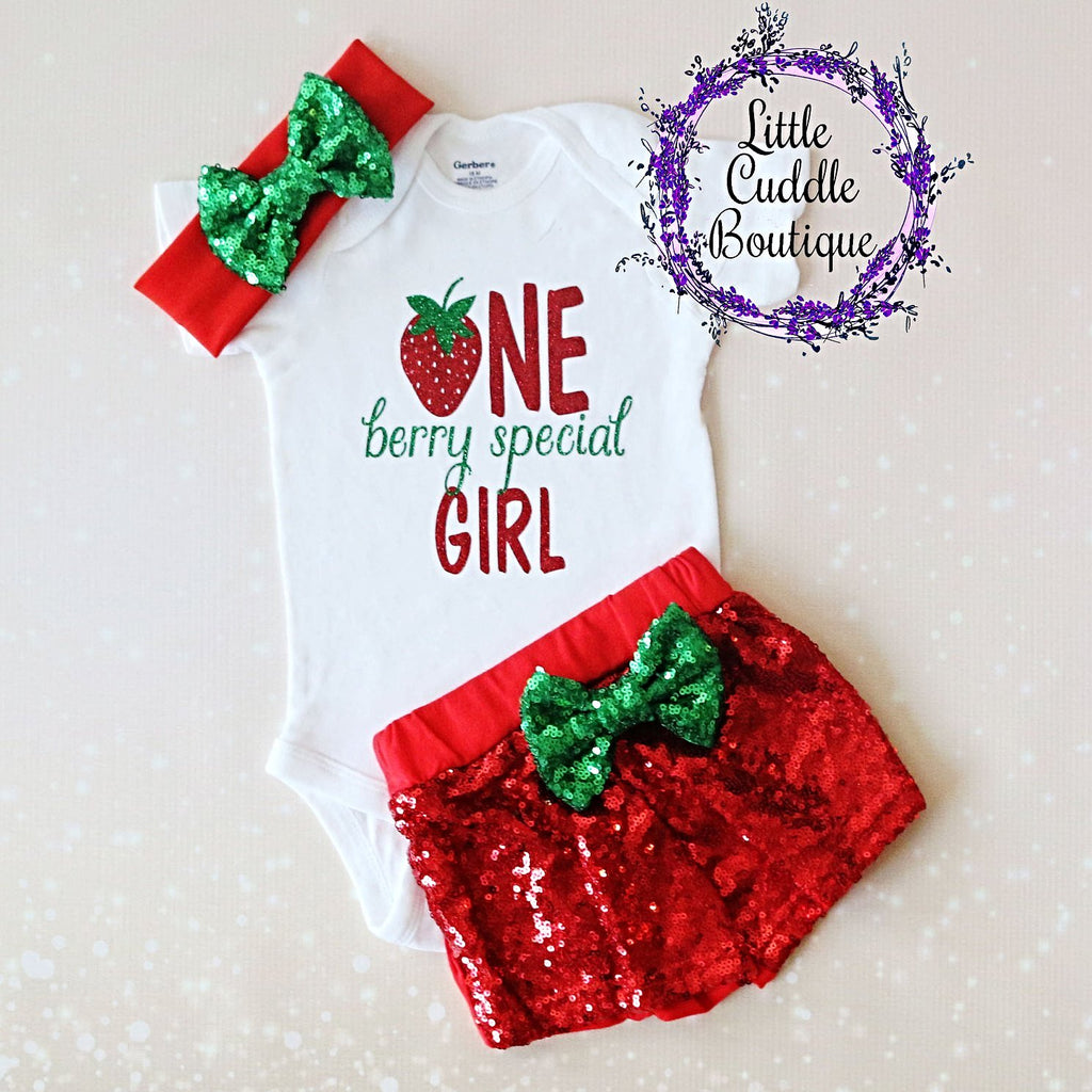 Strawberry First Birthday Shorts Outfit