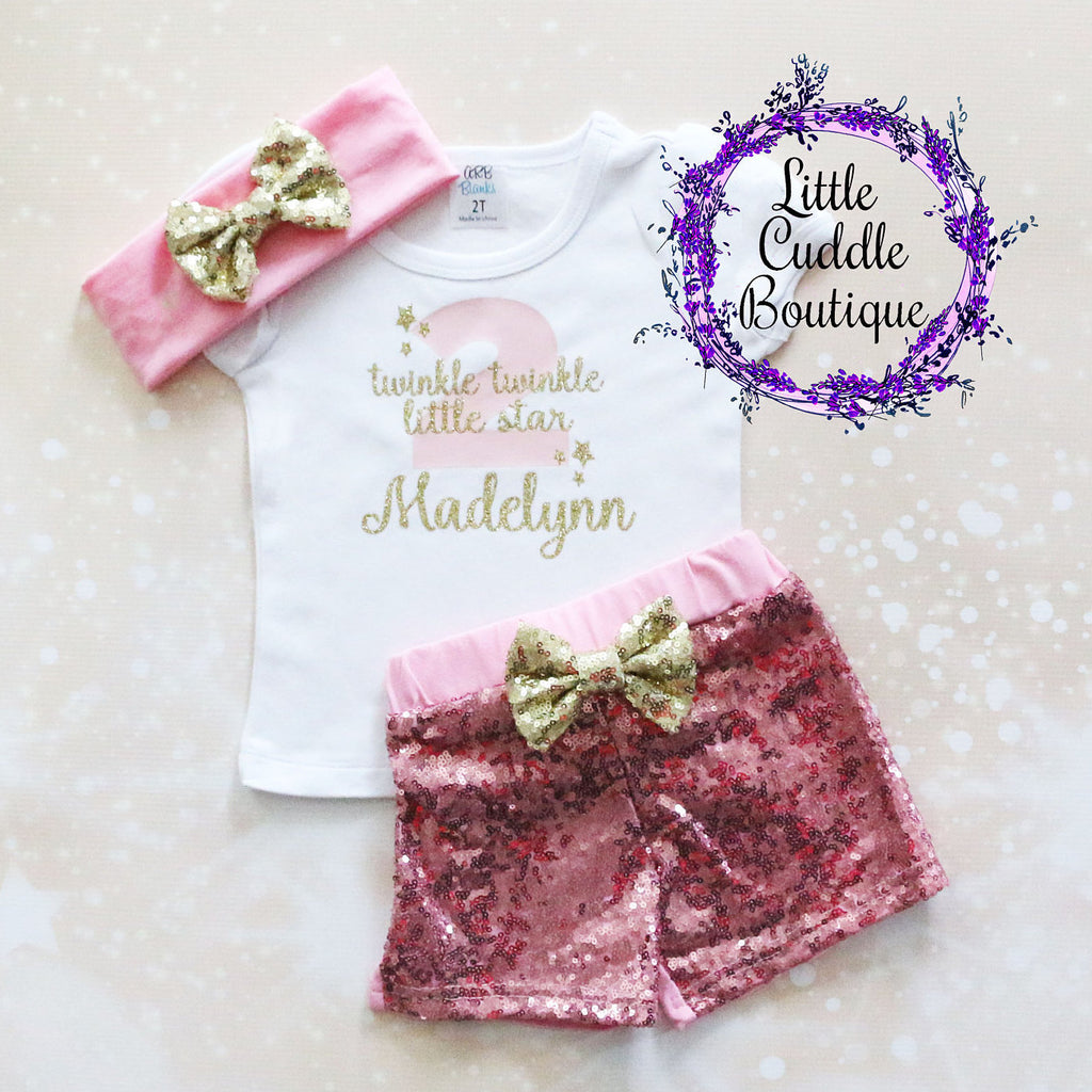 Personalized Toddler Twinkle Twinkle Birthday Shorts Outfit