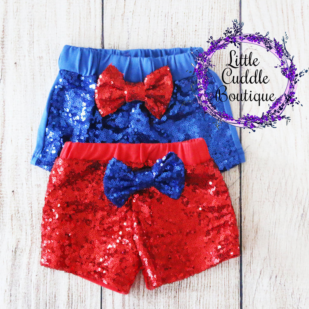 Fourth of July Baby Sequin Shorts