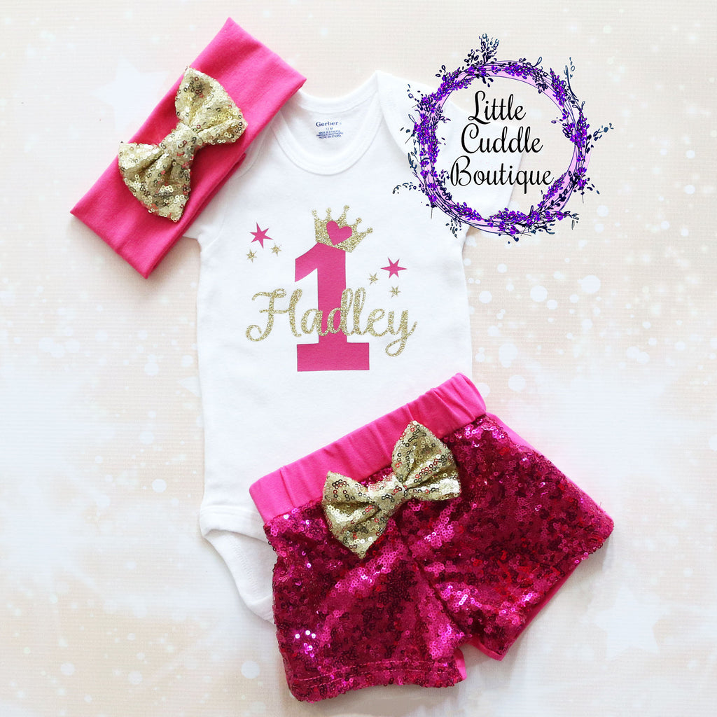 Personalized Princess First Birthday Shorts Outfit