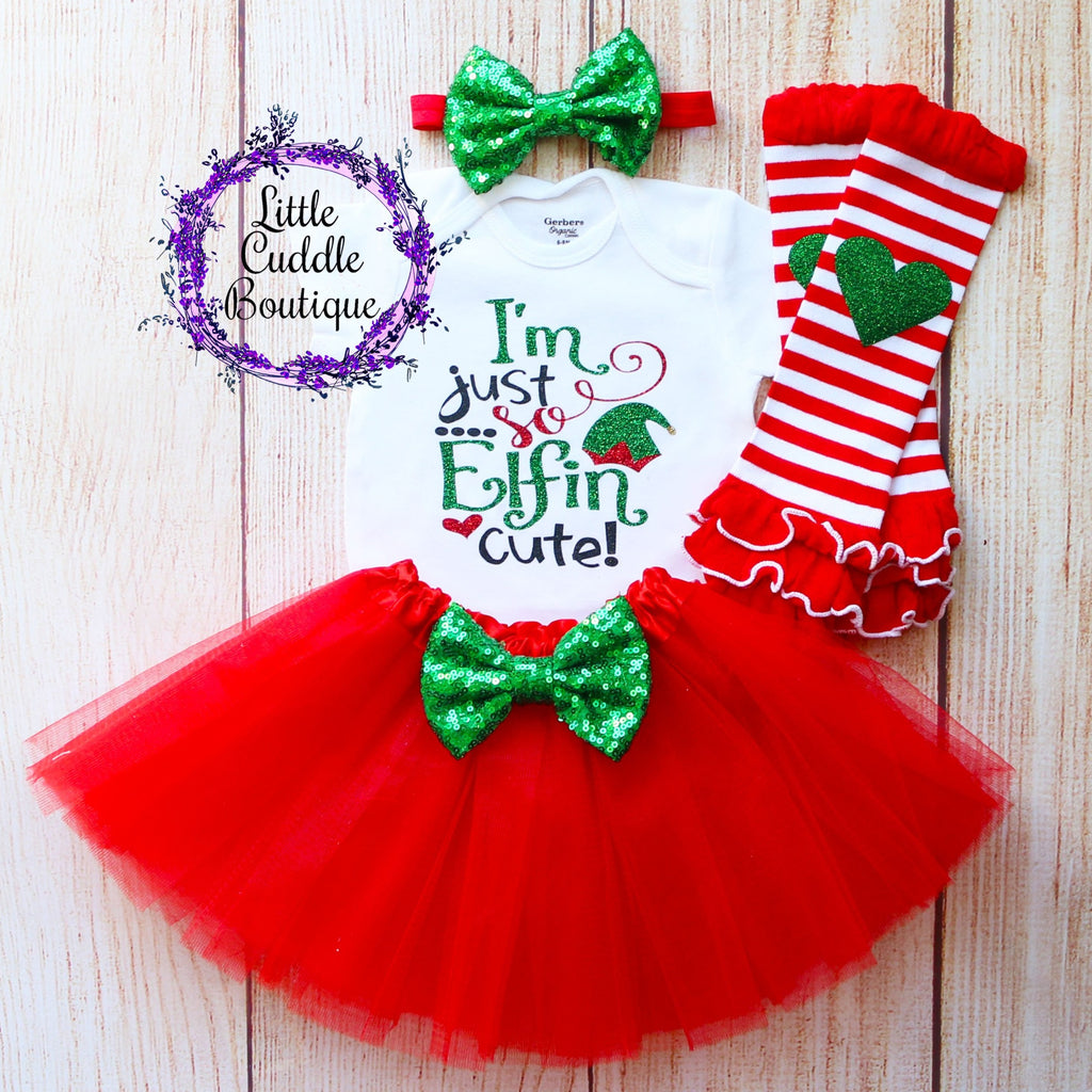 I'm Just So Elfin Cute Christmas Baby Tutu Outfit
