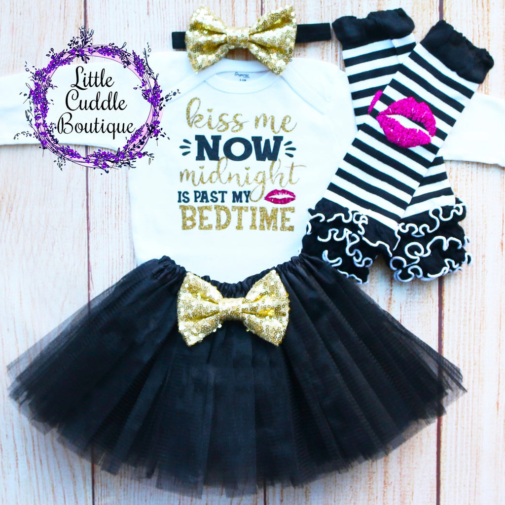 Kiss Me Now Midnight Is Past My Bedtime Baby Tutu Outfit