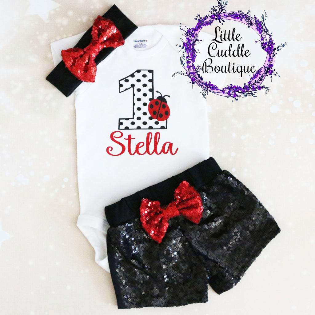 Personalized Ladybug First Birthday Shorts Outfit