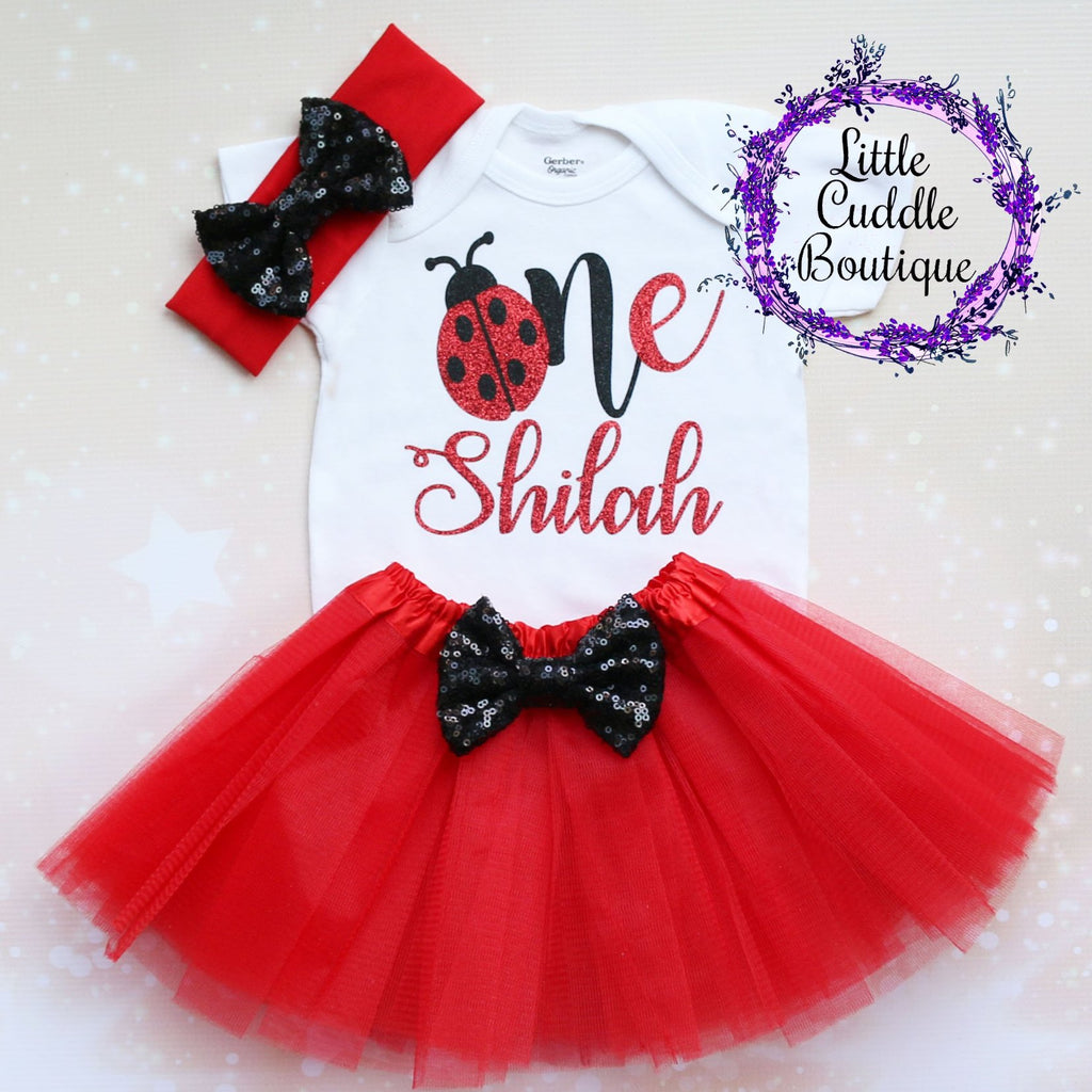 Personalized Ladybug First Birthday Tutu Outfit