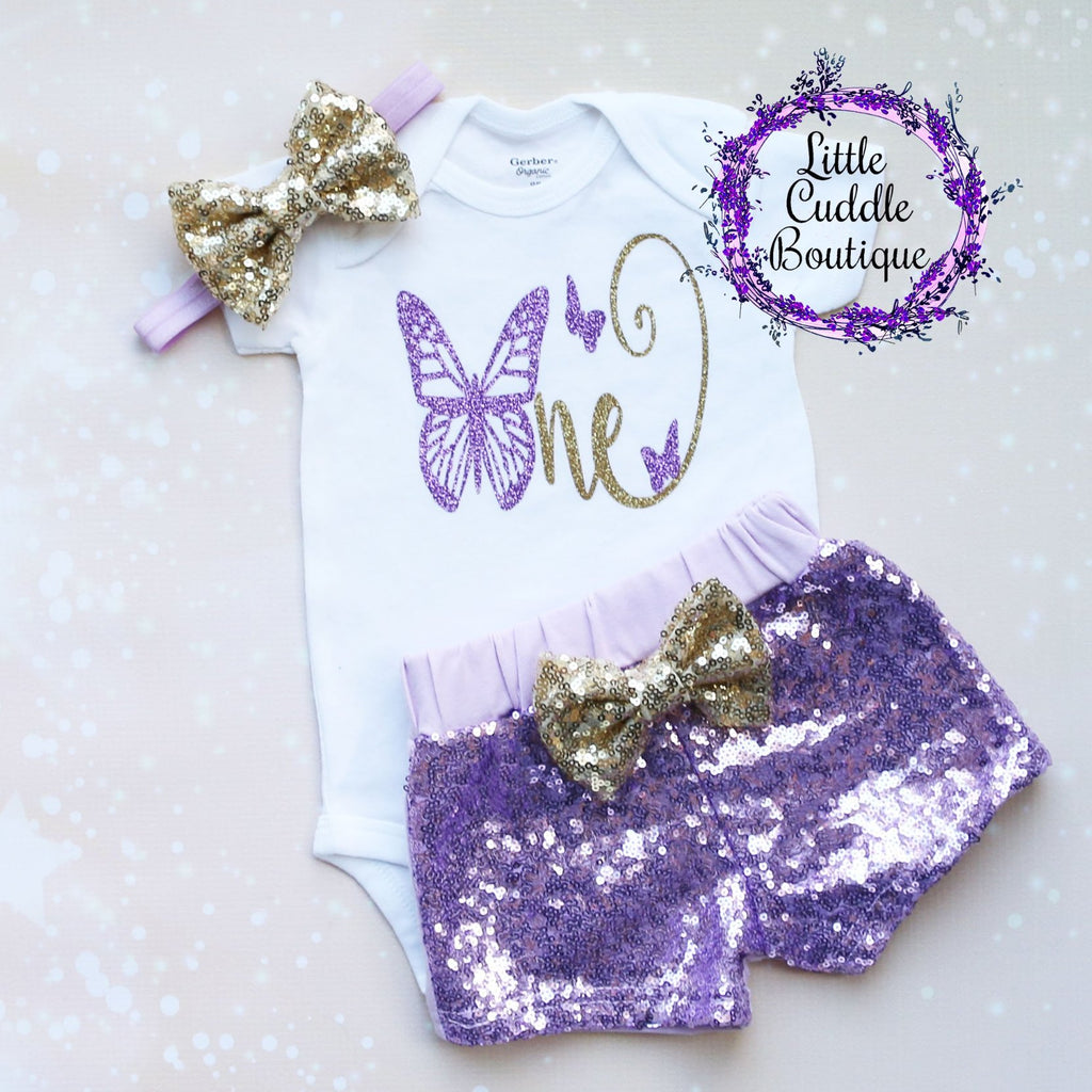 Butterfly First Birthday Shorts Outfit