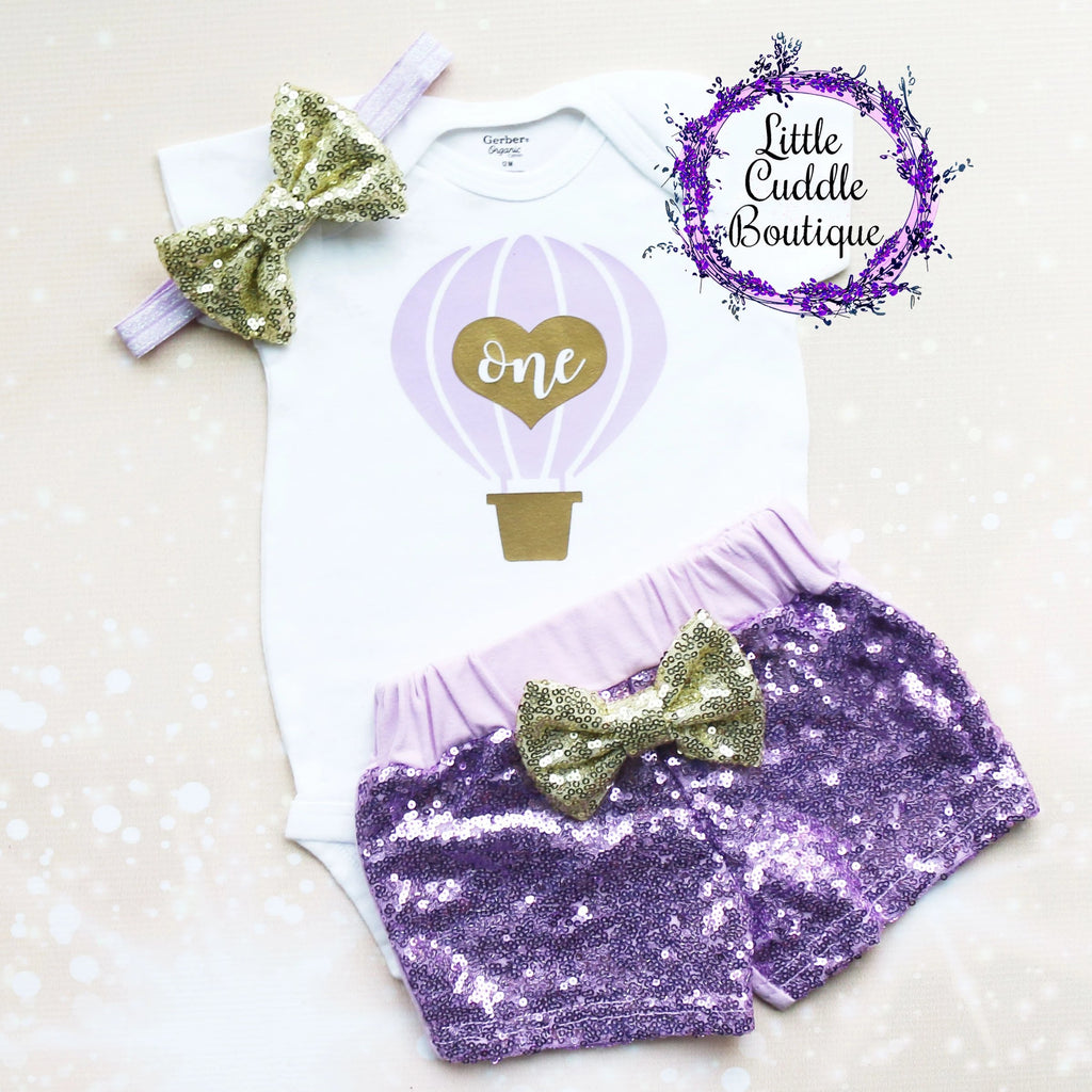 Hot Air Balloon First Birthday Shorts Outfit
