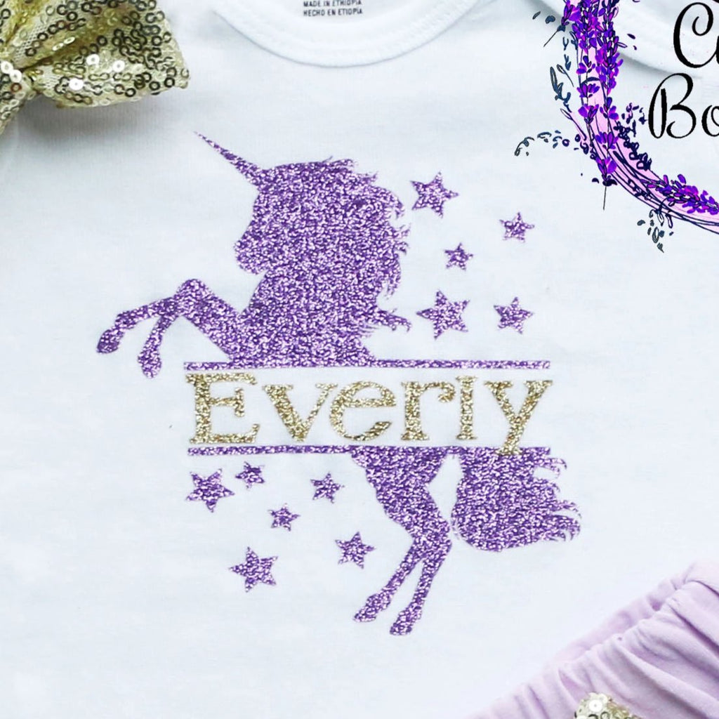 Personalized Unicorn Baby Shorts Outfit