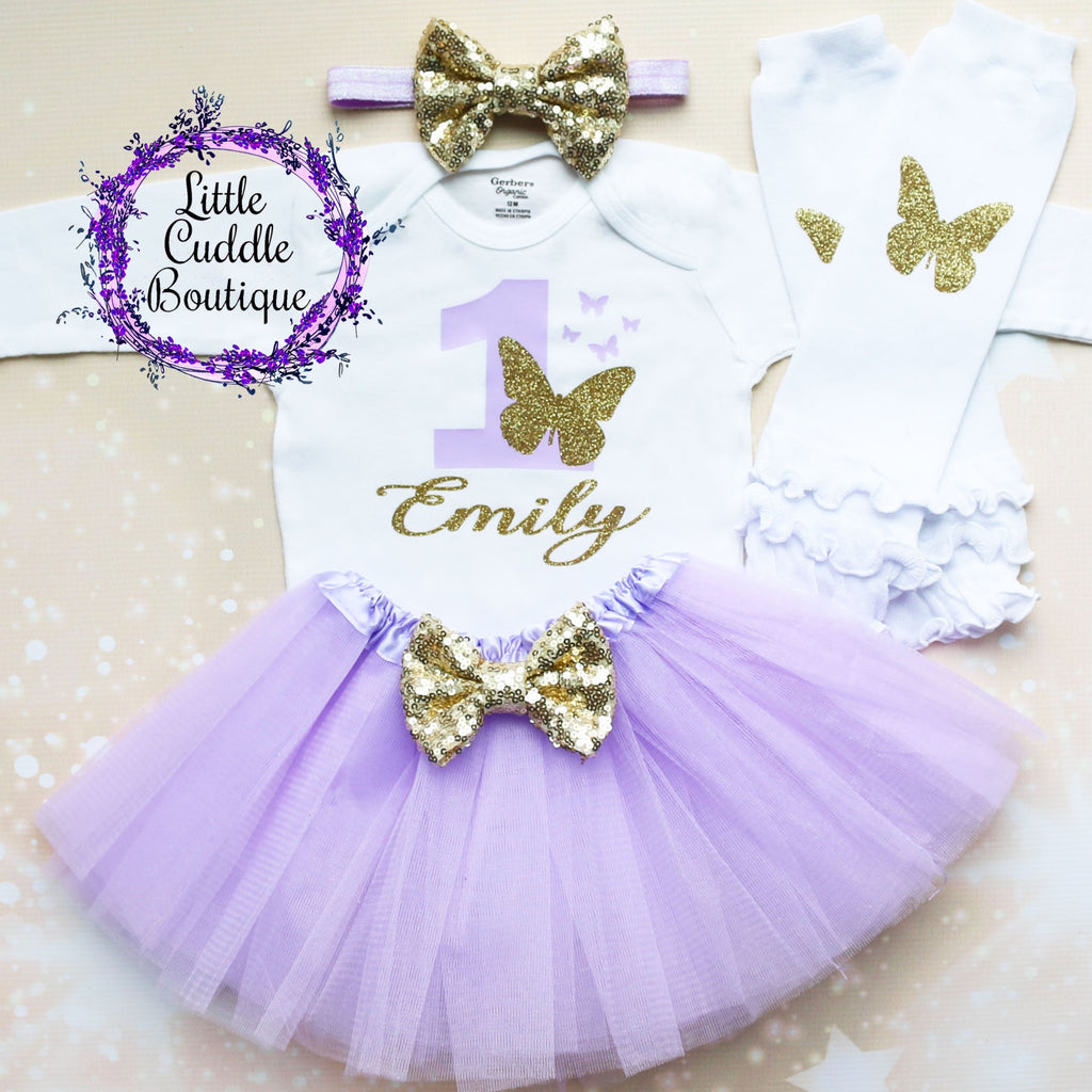 Personalized Butterfly First Birthday Tutu Outfit