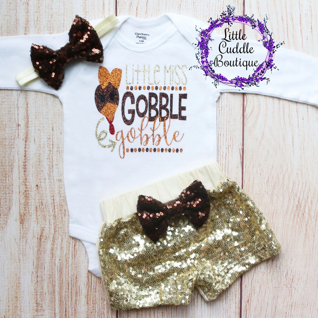 Little Miss Gobble Wobble Baby Shorts Outfit