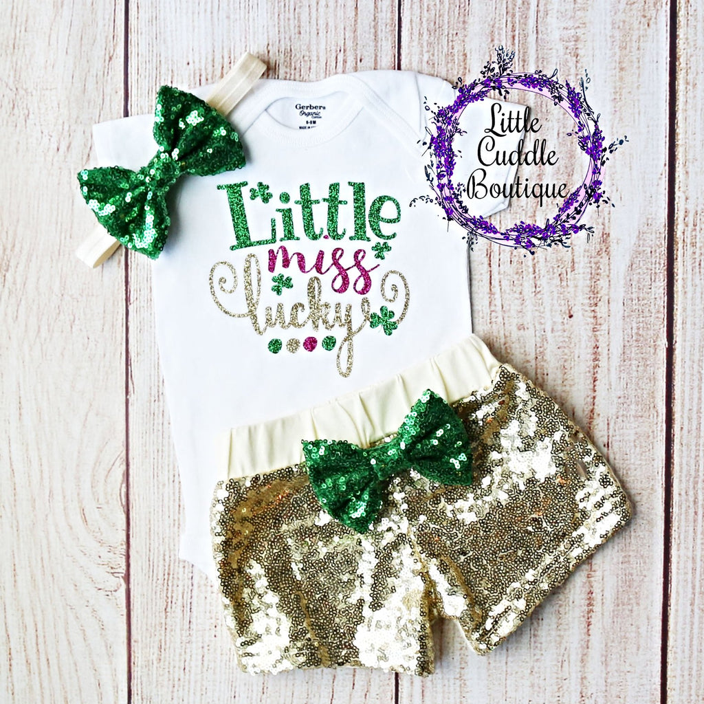 Little Miss Lucky Baby Shorts Outfit