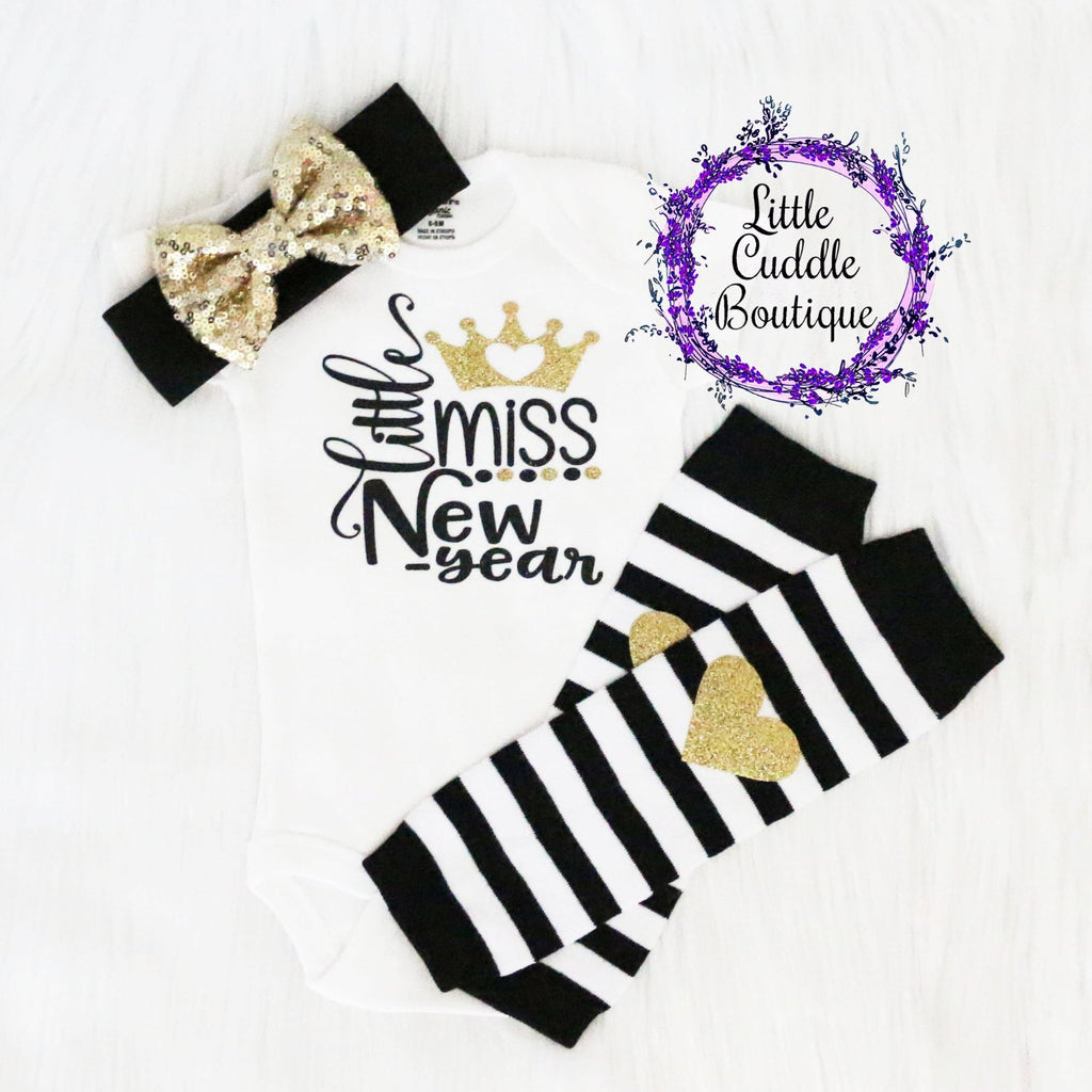 Little Miss New Year Baby Girl Leggings Outfit