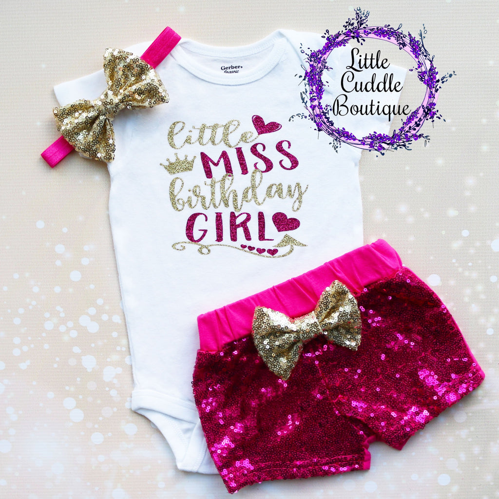 Little Miss Birthday Girl Baby Shorts Outfit