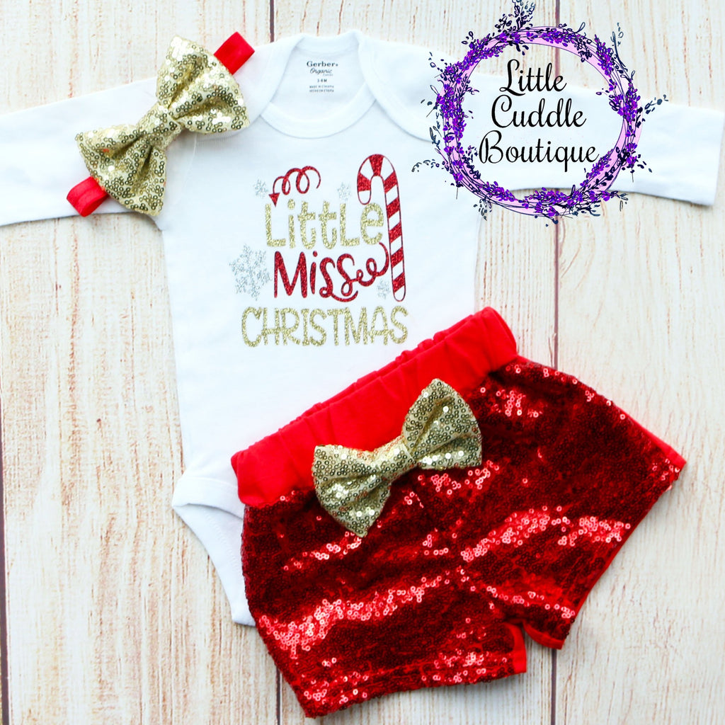 Little Miss Christmas Baby Shorts Outfit