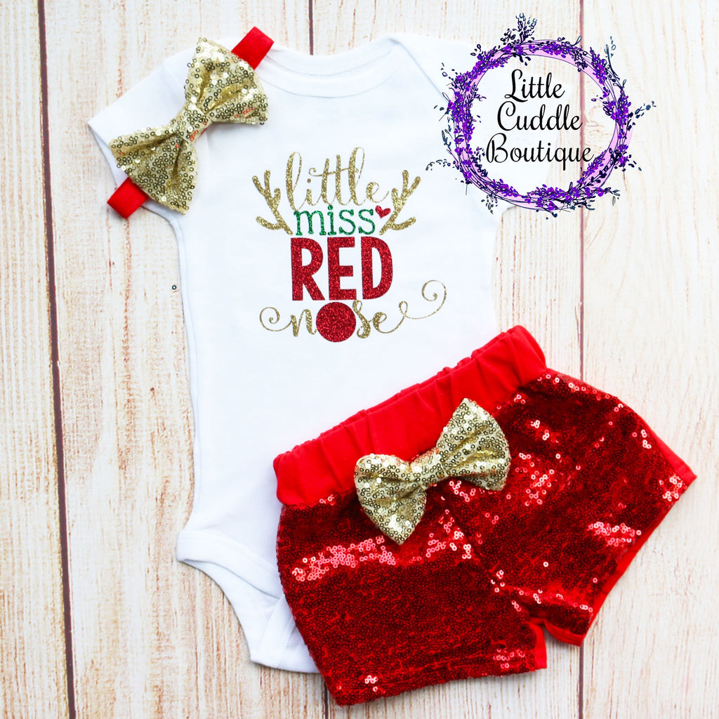 Little Miss Red Nose Christmas Baby Shorts Outfit
