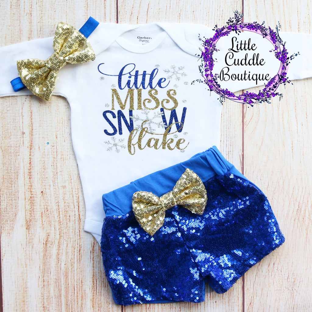 Little Miss Snowflake Christmas Baby Outfit