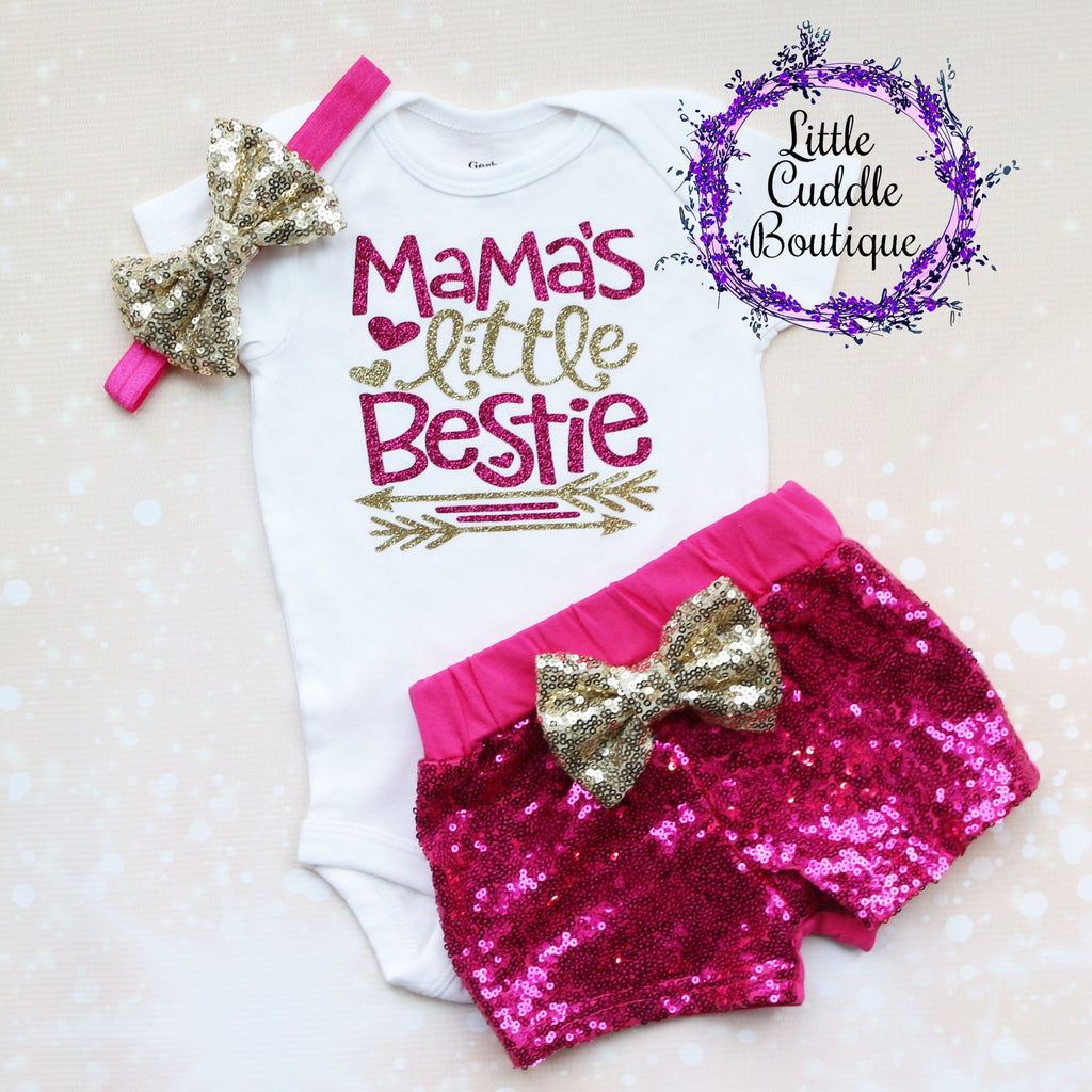 Mama's Little Bestie Shorts Outfit