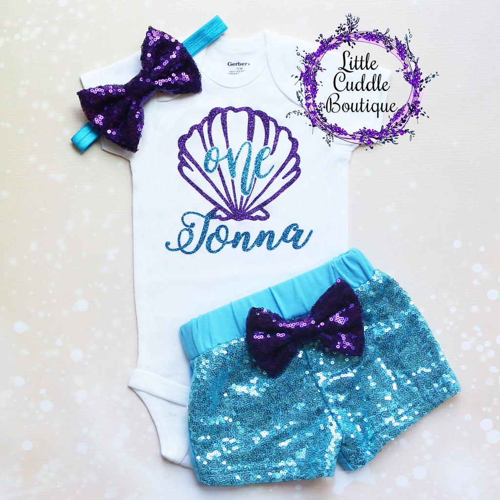 Personalized Seashell/Mermaid Birthday Shorts Outfit