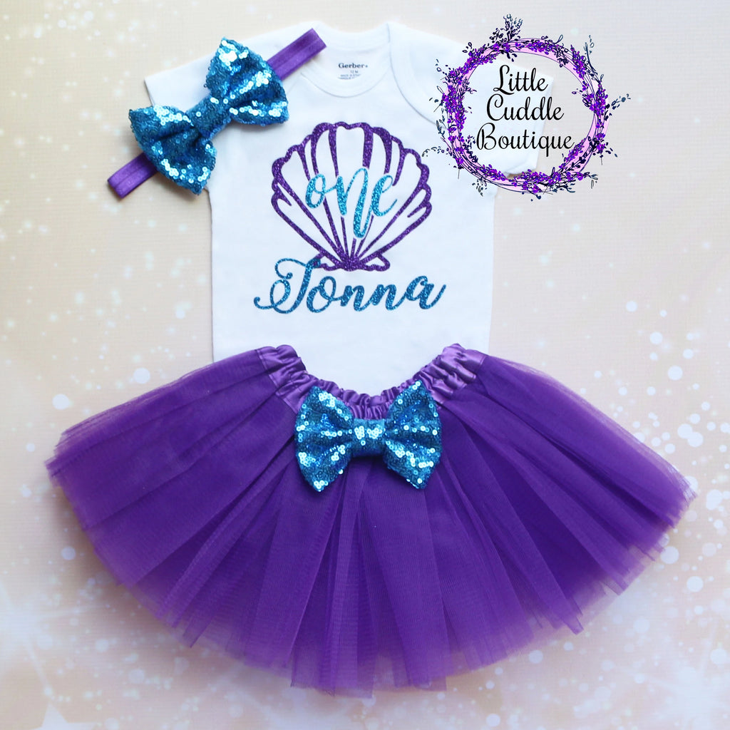 Personalized Seashell/Mermaid Birthday Tutu Outfit