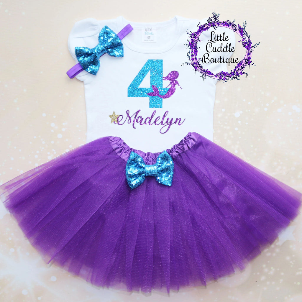 Personalized Toddler Mermaid Birthday Tutu Outfit