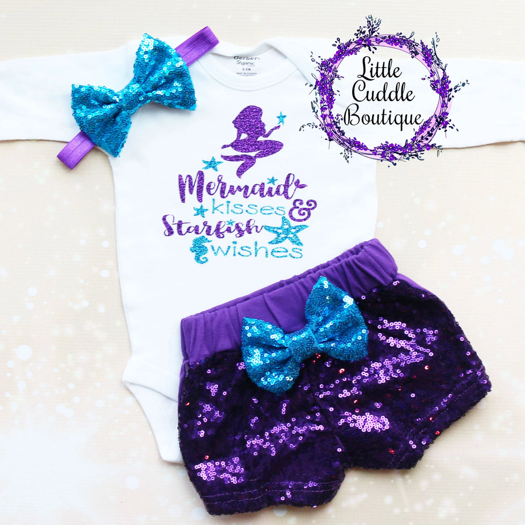 Mermaid Kisses And Starfish Wishes Shorts Outfit