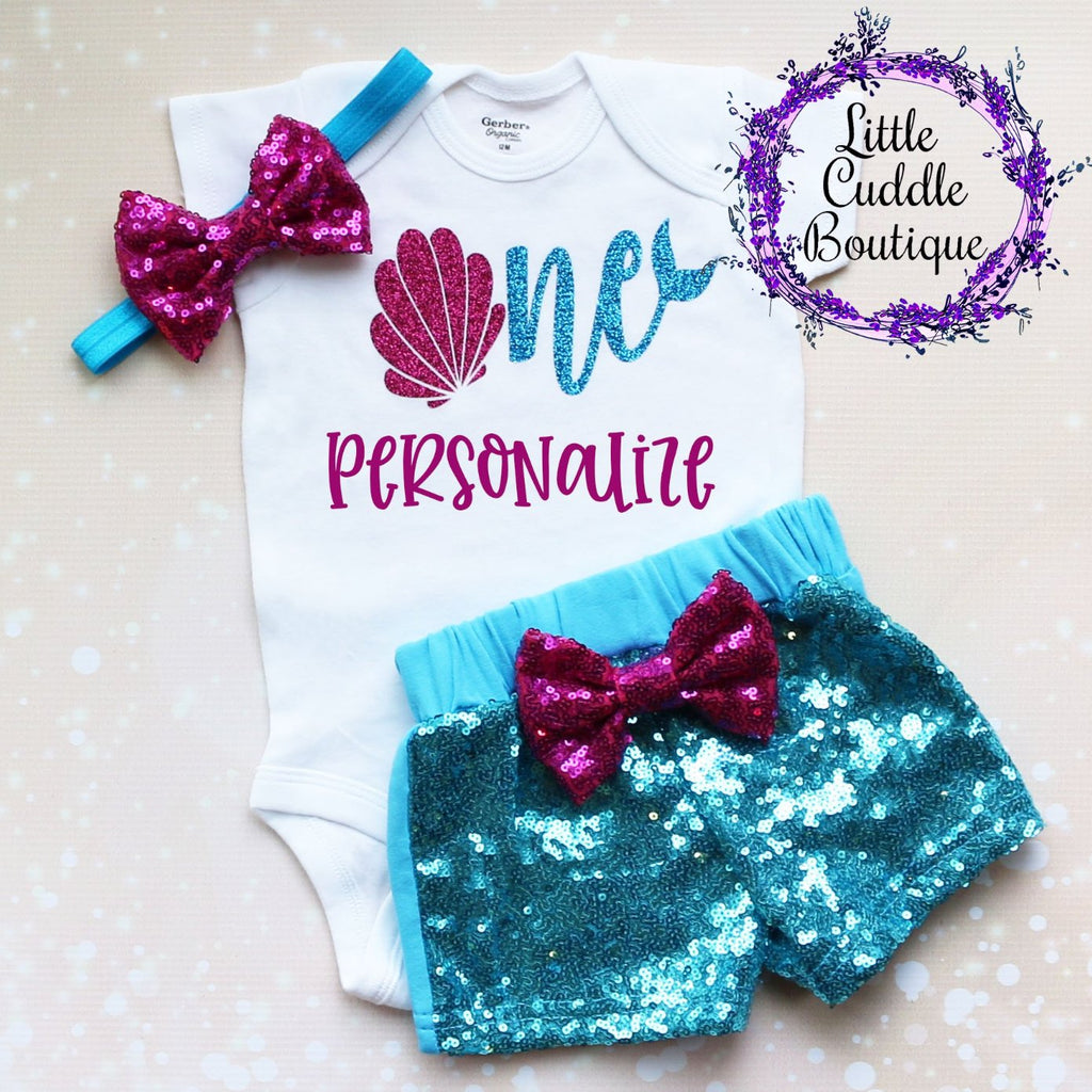 Personalized Seashell Birthday Shorts Outfit