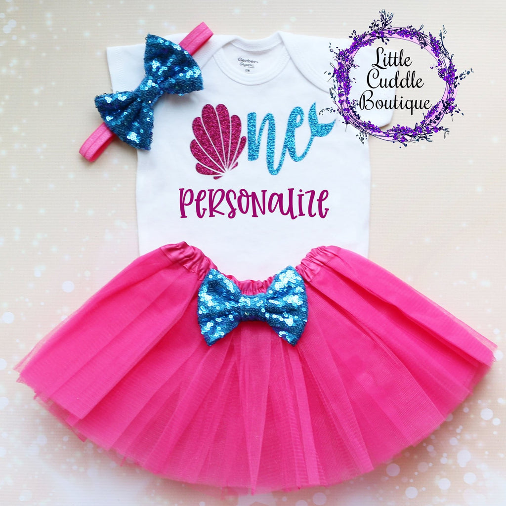 Personalized Seashell Birthday Tutu Outfit