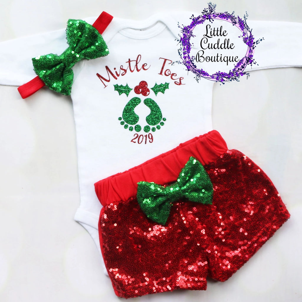 Mistle Toes Christmas Baby Shorts Outfit