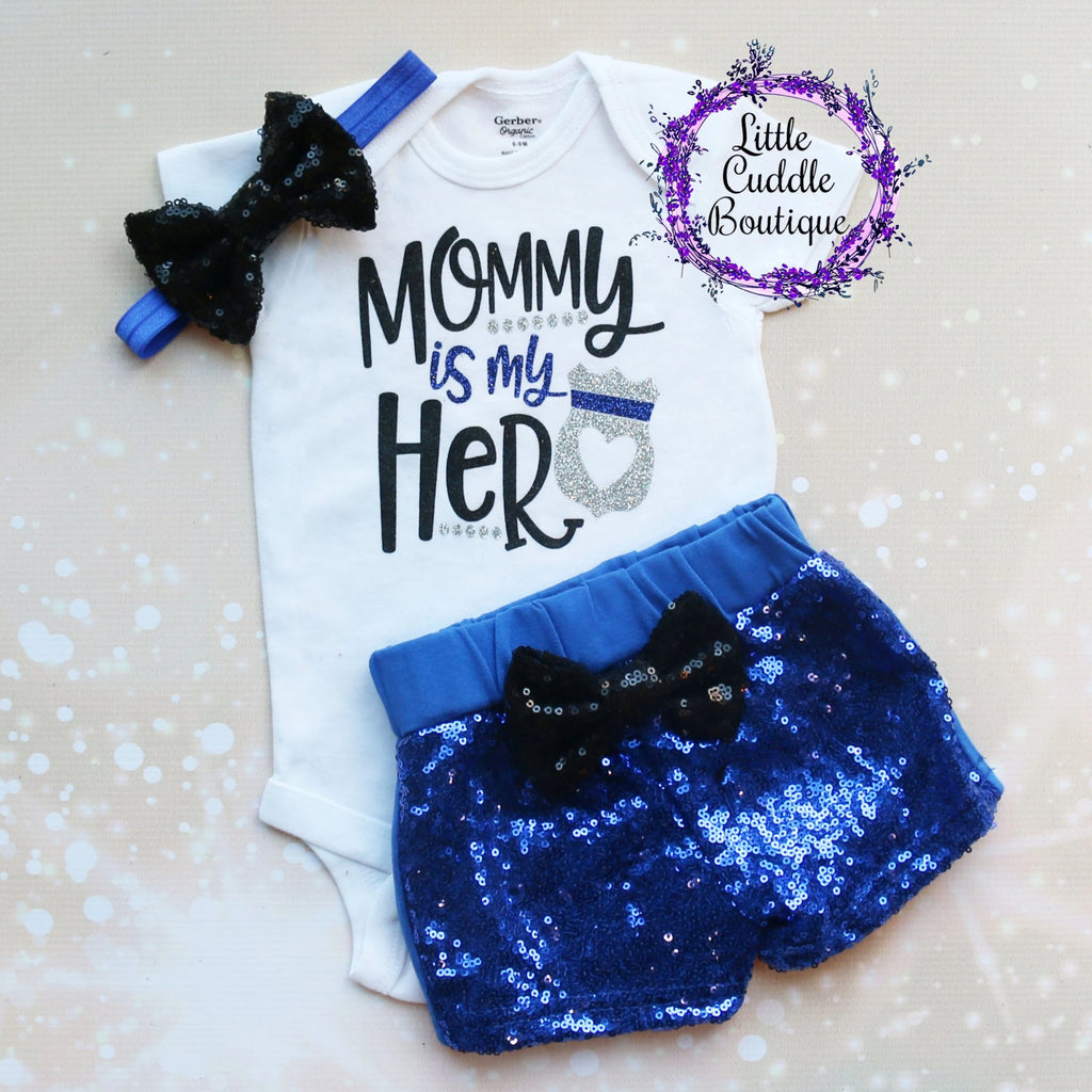Mommy Is My Hero Police Shorts Outfit