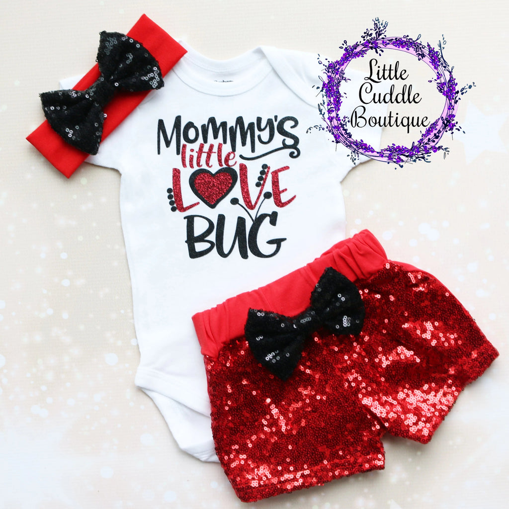 Mommy's Little Love Bug Baby Shorts Outfit